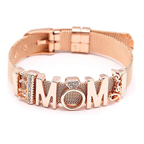 Fashion Stainless Steel Bracelet Mesh Bracelet Set Crystal Heart Anchor Charm Fine Bracelet ST009