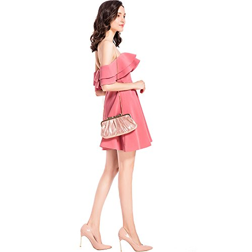 Ruffle Frame Evening Pleated for with Clutch Bow Party Sparkle Women��s Metal Handbag Pink M10M15 Purse 7qwxptfp