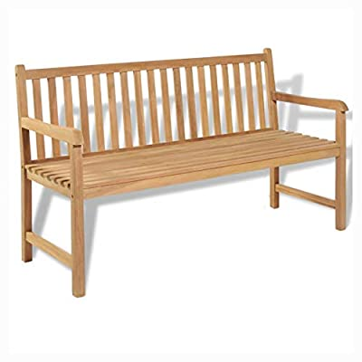 "HEATAPPLY Outdoor Bench, Garden Bench 59"" Teak"