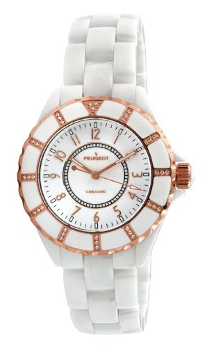 Peugeot Women's PS4893WT Swiss Ceramic Swarovski Crystal White Dial Watch