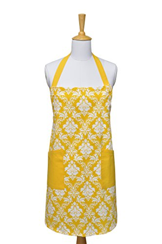 Kitchen Apron with Pockets,100% Cotton, Men & Women Apron for Cooking, Yellow,Printed Damask Kitchen Apron of Size 29X37.5 Inch, Adjustable Neck Strap & Front Pockets, Premium Quality Fine (Damask Kitchen)
