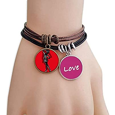 Metftus Red Plump Beautiful Girl Love Bracelet Leather Rope Wristband Couple Set Estimated Price -