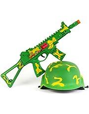 مسدس وخوذة لعبة للأولاد، أخضر