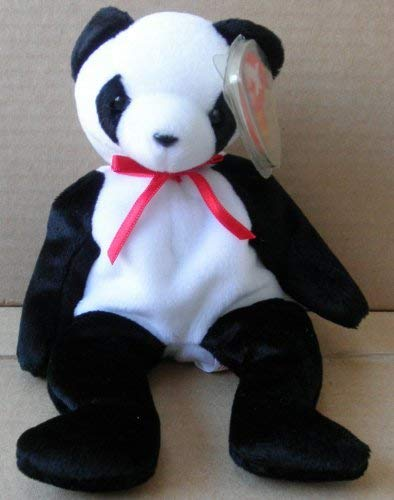 Panda Bear Beanie - TY Beanie Babies Fortune Panda Bear Stuffed Animal Plush Toy - 8 1/2 inches tall - Black and White with Red Bow