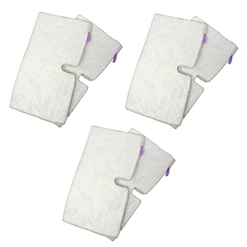 SHP-ZONE Replacement RECTANGLE Microfiber Cleaning Pads Suitable for Euro-Pro Shark Steam Mop S3501 (Pack of 6)