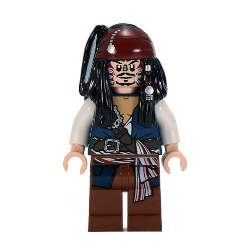 (Jack Sparrow (Cannibal dual sided head) Lego from set #4182 Pirates of the Caribbean Minifigure)
