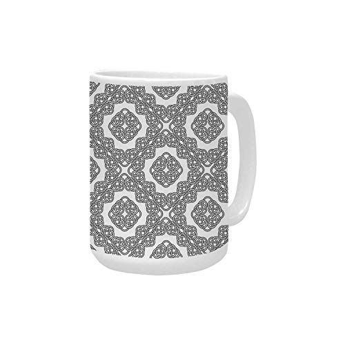 Celtic Decor Ceramic Mug,Geometric Diagonal Symmetrical Binding Celtic Cross Knots Motif Retro Artsy Illustration for Home,15OZ