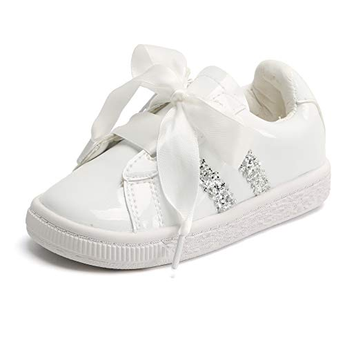 Bear Mall Toddler/Little Kid Girls Running Shoes Sports Sneakers Princess Satin Lace Casual Shoes (9 M US Toddler, PM01 White)