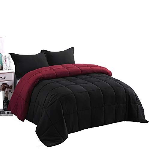 HIG 3pc Down Alternative Comforter Set -All Season Reversible Comforter with Two Shams - Quilted Duvet Insert with Corner Tabs -Box Stitched -Hypoallergenic, Soft, Fluffy (Full/Queen, Black/Burgundy) Black Friday & Cyber Monday 2018