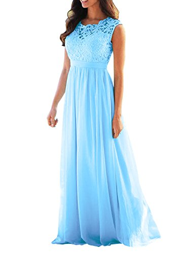 Buy light blue and gold bridesmaid dresses - 5