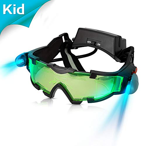 AGM Kid Night Vision Goggles, Adjustable Night Goggles with Flip-Out Lights Green -