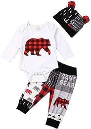 Toddler Baby Boy Girl Clothes Bear Plaid Romper Bodysuit Long Sleeve Tops Pants Hat Outfits Set Infant Cute Au