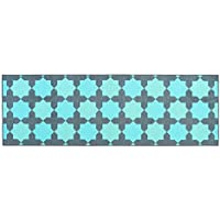 Wolala Home Blue Geometry Rug Runners for Hallways,Bedroom Bedside Area Rugs with Non-slip Backing,Soft and Comfortable Rug Pad,Machine Washing (16x5, Blue)