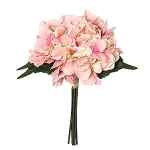 "Charmly Artificial Silk Hydrangea Flowers 6 Heads Bouquet Wedding Home Decoration Approx 7"" in Diameter Hydrangea-Pink 11"