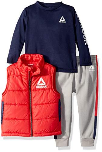 Reebok Fleece - Reebok Boys' Toddler 3 Piece Puffer Vest, Long Sleeve T-Shirt and Fleece Pant, True red, 3T