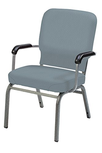 Multi Use Vinyl Seating (KFI Oversized Stack Chair with Arms, Williamsburg, Silver Frame)