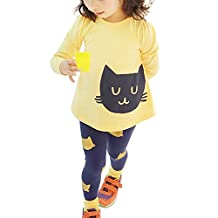 SODIAL(R) Girls Sets Kids Apparel spring autumn 2pcs Set girls cloth sets shirt+pants children clothing suits child sportswear set yellow 4T(110CM)