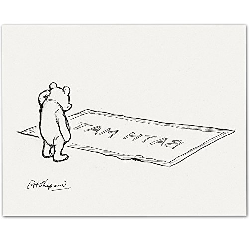 Lone Star Art Bath Mat v2 - Winnie The Pooh 11x14 Unframed - Great Child's Bathroom Decor -