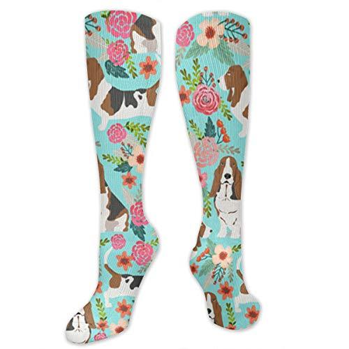 Fashion Sweet Basset Hound And Vintage Florals Cotton Hip Hop Crew Socks, Football Drifting Running Sock