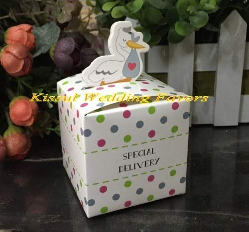 10Pcs / Lot Little Special Delivery Stork Favor Box for Baby Duck Snack Candy and Birthday Party Decoration Paper Gift Case