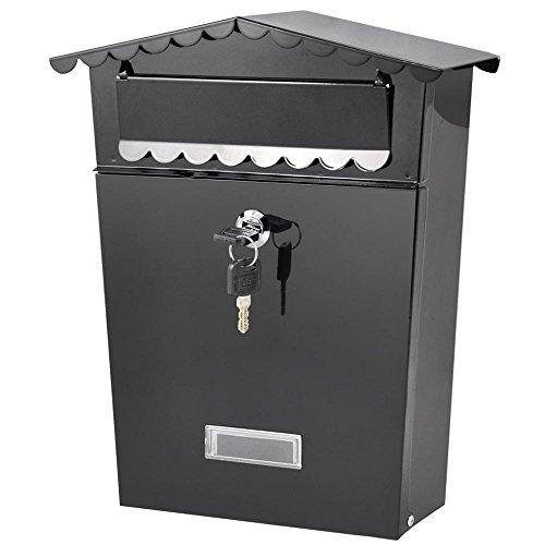 go2buy Black Lockable Wall-Mount Mailbox Locking Security Mailbox w/ Outward Door & 2 Keys Black,12 x 10 x 2.6'' by go2buy