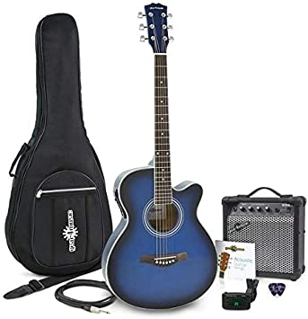 Set de Guitarra Electroacustica con Cutaway + Amplificador de 15 W Blue