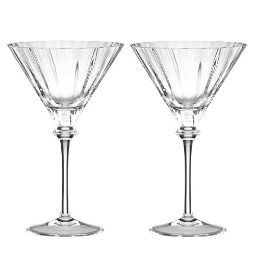 Reed & Barton 2 Piece Heritage Austin Crystal Martini Glass Set Thomas Obrien Barware