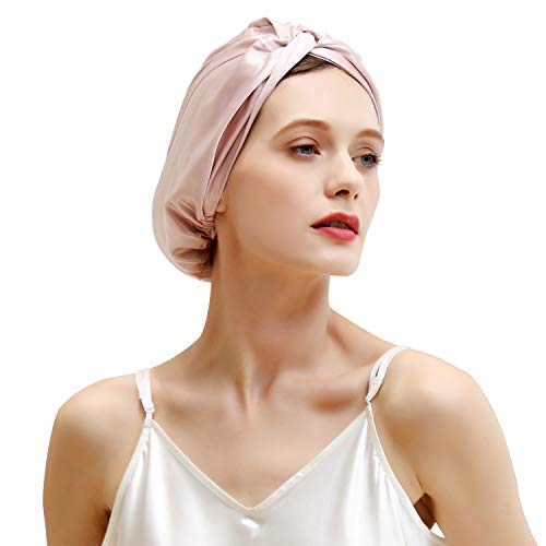 ZIMASILK 100% Mulberry Silk Sleep Cap for Women Hair Care,Natural 22 Momme Silk Night Bonnet with Adjustable Ribbons,Smooth Soft,1 Pack