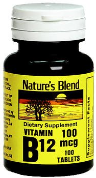 Nature's Blend Vitamin B12 100 mcg Tablets - 100 ct, Pack of 2