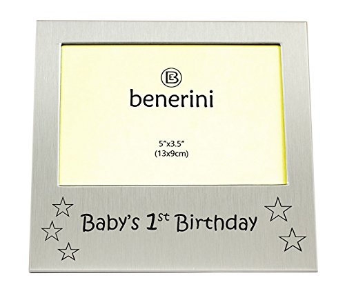 (benerini Baby's 1st Birthday - Photo Frame Gift - Photo Size 5 x 3.5 Inches (13 x 9 cm) - Brushed Aluminum Satin Silver)