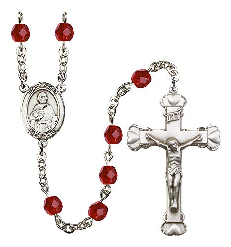 (Silver Plate Rosary features 6mm Ruby Fire Polished beads. The Crucifix measures 1 5/8 x 1. The centerpiece features a St. Philip the Apostle medal. Patron Saint Hatters/Pastry Chefs)