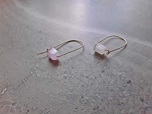 Pink Kunzite Modern Minimalist Drop Hoop Earrings Gold