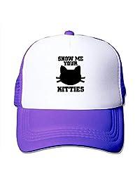 Custom Particular Unisex Show Me Your Kitties - Funny Cat Pun Meme Trucker Cap  Hat Purple 0873598dbb6f