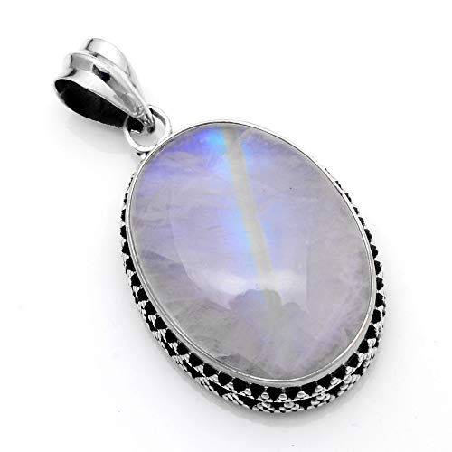 (Silver Palace 925 Sterling Silver Natural Rainbow Moonstone Pendants for Women and Girls)