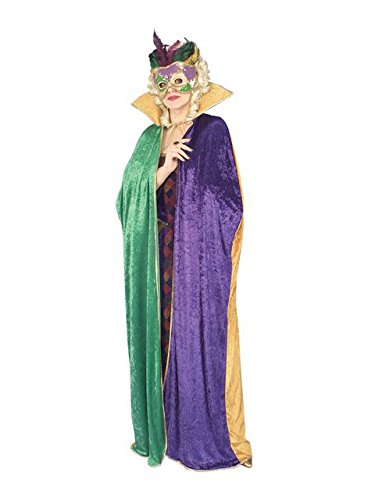Forum Novelties Full Length Mardi Gras Cape, Green/Gold/Purple, Adult -