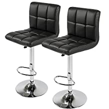 Nicer Furniture Hexagrid PU Height Adjustable Bar Stool in Black - set of 2