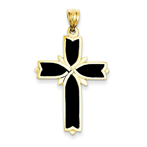 14k Engraveable Cross Pendant (14k Yellow Gold Solid Polished Textured back Not engraveable Enameling Cross Pendant - Measures 22.5x37.7mm)
