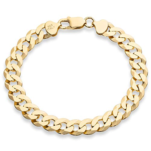 (MiaBella 18K Gold Over Sterling Silver Italian 9mm Solid Diamond-Cut Cuban Link Curb Chain Bracelet, 8