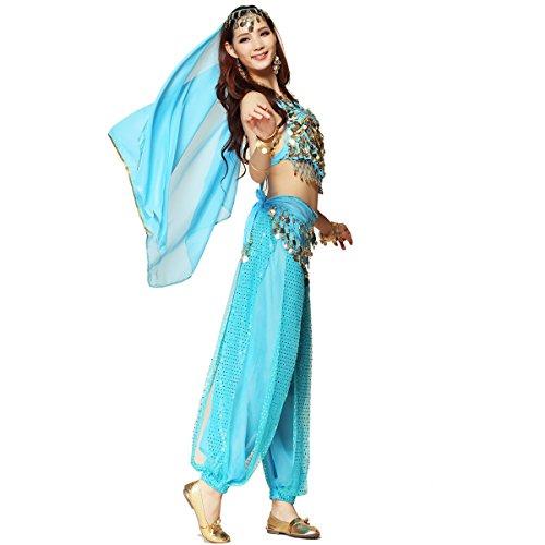 Pilot-trade Women's Belly Dance Costume 3-Pieces Beads Bells Top Harem Pants Hip Scarf Belt Light (Adult Belly Dancer Costume)