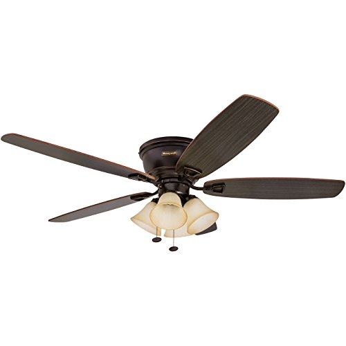 Honeywell Glen Alden 52-Inch Ceiling Fan with Sunset Shade Lights, Hugger Flush Mount, Low Profile, Five Reversible Cimarron Ironwood Blades, Oil-Rubbed Bronze