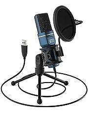 TONOR PC microfoon USB computer condensatormicrofoon gaming micros plug & play met statief en pop-filter voor podcasts, voor iMac PC Laptop Desktop Windows Computer