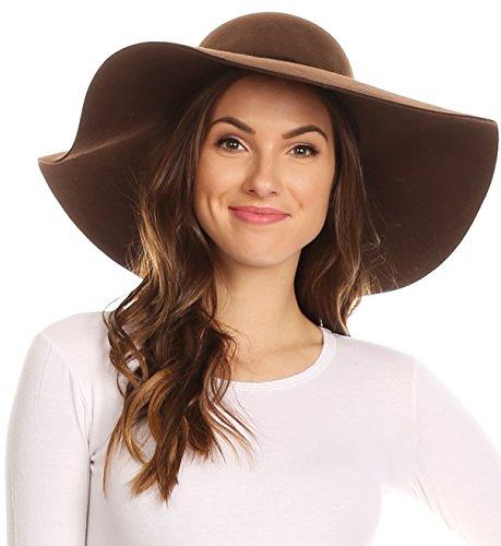 Sakkas 2041SS Greta Vintage Style Wool Floppy Hat - Brown - One Size