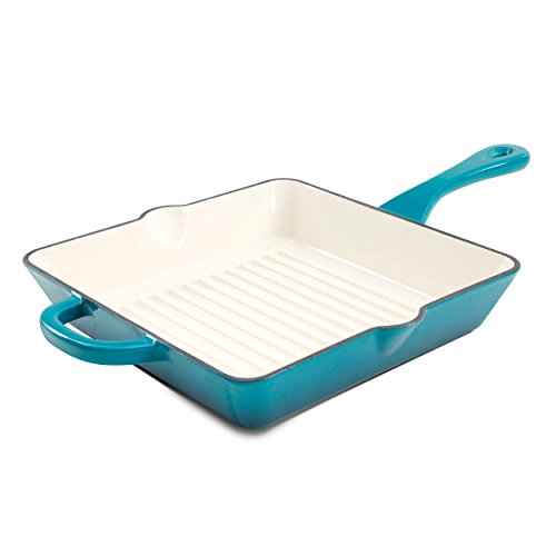 - Crock Pot 111994.01 Artisan 10 Inch Enameled Cast Iron Grill Pan, Teal Ombre