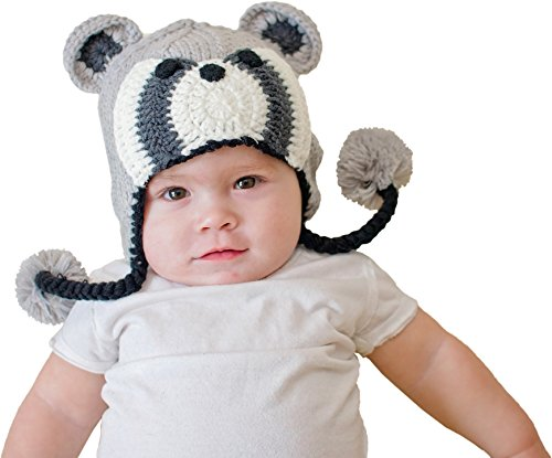 - Huggalugs Boys or Girls Bandit Raccoon Beanie M Grey