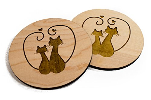 Unfinished Hand Made Cat Valentine's Day Coaster Set- 4 3.5