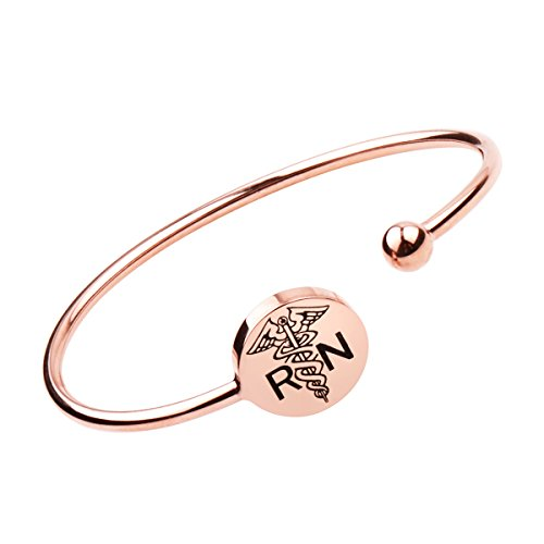 Nurse Bracelet ,Heart Beat Bracelet, Stethoscope Necklace ,Nursery Graduation Gift, Nurse Doctor Gifts (RN-Rose Gold)