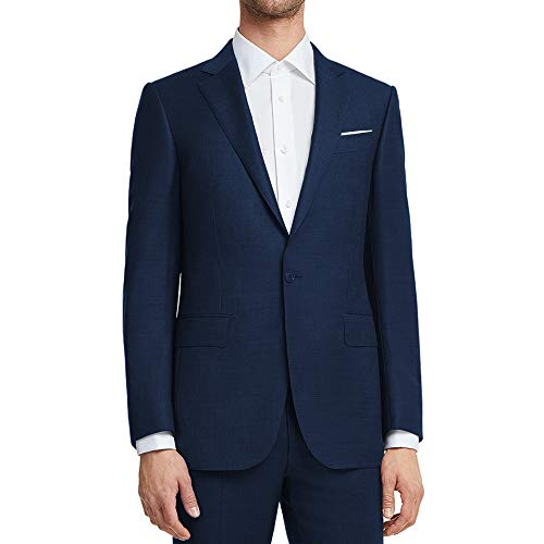 WULFUL Men's Suit Jacket One Button Slim Fit Sport Coat Casual Blazer Jacket Blue