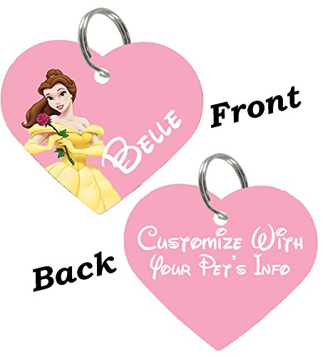 uDesignUSA Disney Double Sided Pet Id Tags for Dogs & Cats Personalized for Your Pet (Belle, Heart Shaped) (Beauty And The Beast Collar)