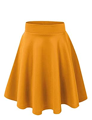 VIV Collection Women's Versatile Stretchy Plain Casual Mini Flared Skater Skirt