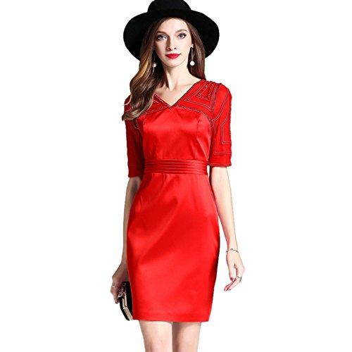 Robes De Cocktail Formelles Cotylédons Pour Les Femmes Manches Courtes V Cou Robes Slim Fit Rouge